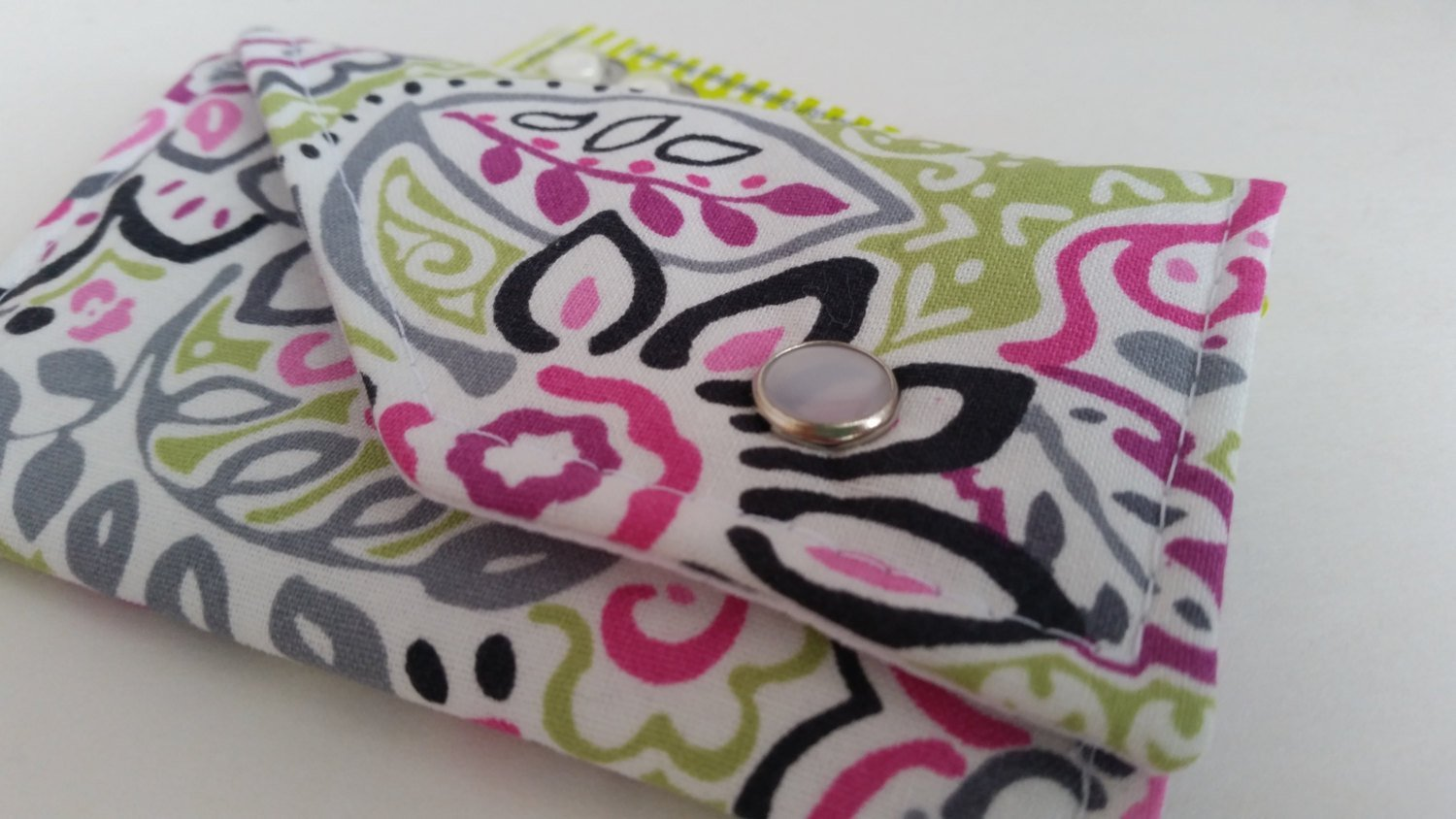 Birth Control Case Sleeve with Snap Closure - Pretty print