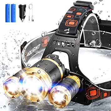 ERAY Linterna Frontal LED Recargable Alta Potencia 3 LEDs/ 4 Modos ...
