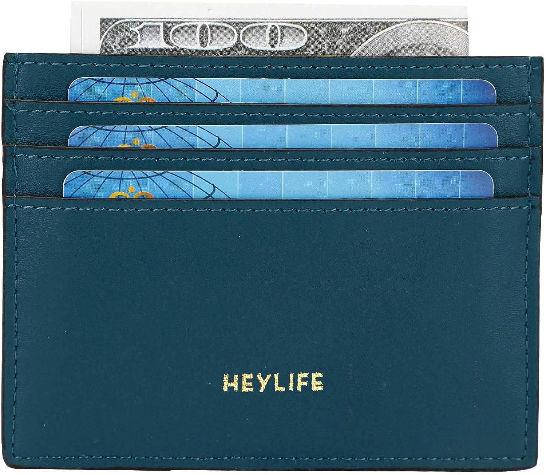 RFID Credit Card Holder for Women Men Slim Leather Card Case Wallet Minimalist Money Clip