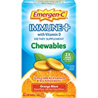 Emergen-C Immune+ Chewables Vitamin C 1000mg With Vitamin D Tablet (42 Count, Orange Blast Flavor) Immune Support Dietary Supplement