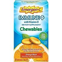 Emergen-C Immune+ Chewables Vitamin C 1000mg With Vitamin D Tablet (42 Count, Orange...