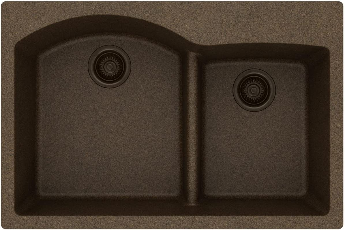 Elkay Quartz Classic ELGH3322RMC0 Mocha Offset 60 40 Double Bowl Top Mount Sink