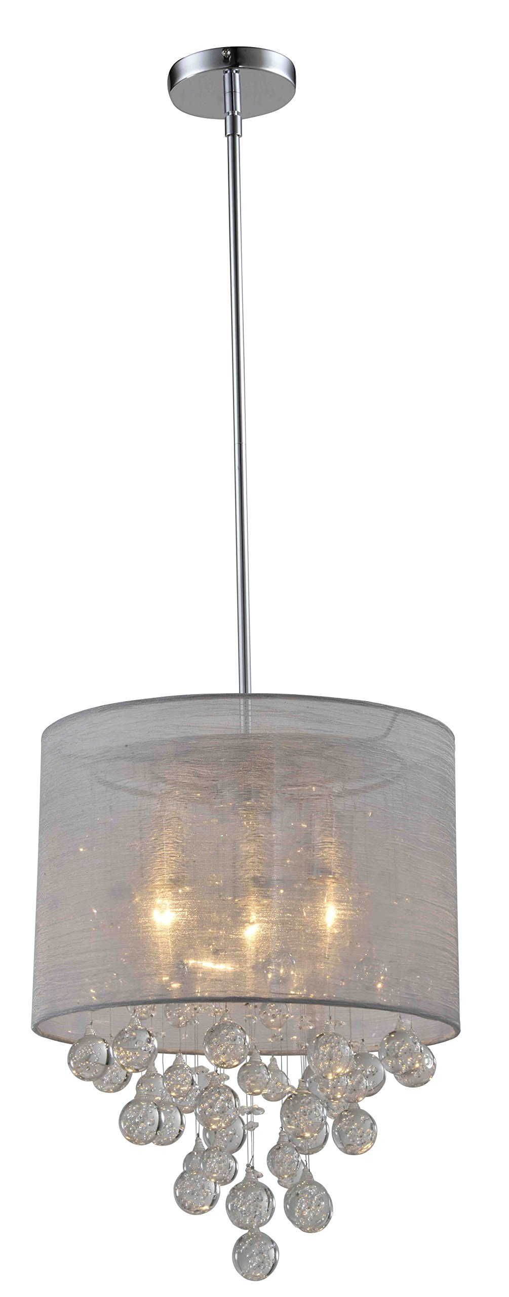 Artiva USA A501104 Modern, Comtemporary Charlotte Textured Silk Shade 3-Light Crystal Chandelier with Bubbles Glass Ball, 15'Dia 18.5'H, Silver Chrome