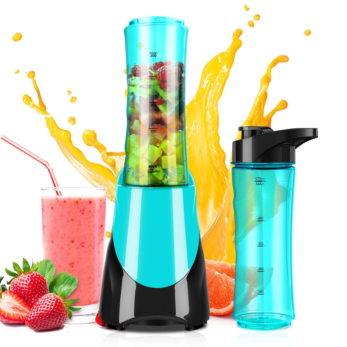 Personal Blender for Smoothies Shakes, Powerful 300W(24,000RMP) 4 Sharp Blades, Small Blender Single Serve with 20 oz Portable Sport Bottle, Blue by CUSINAID
