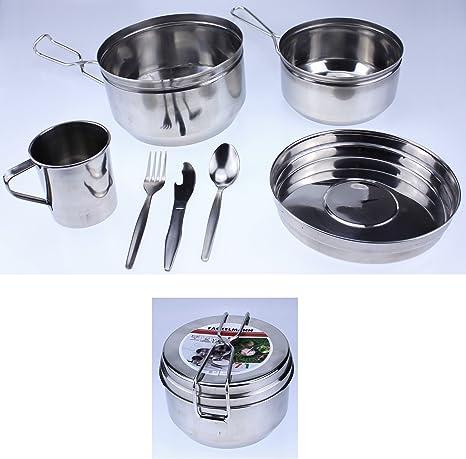 Batería de cocina para Camping acero inoxidable juego de utensilios de cocina Camping senderismo vajilla cubiertos de cocina Fackelmann