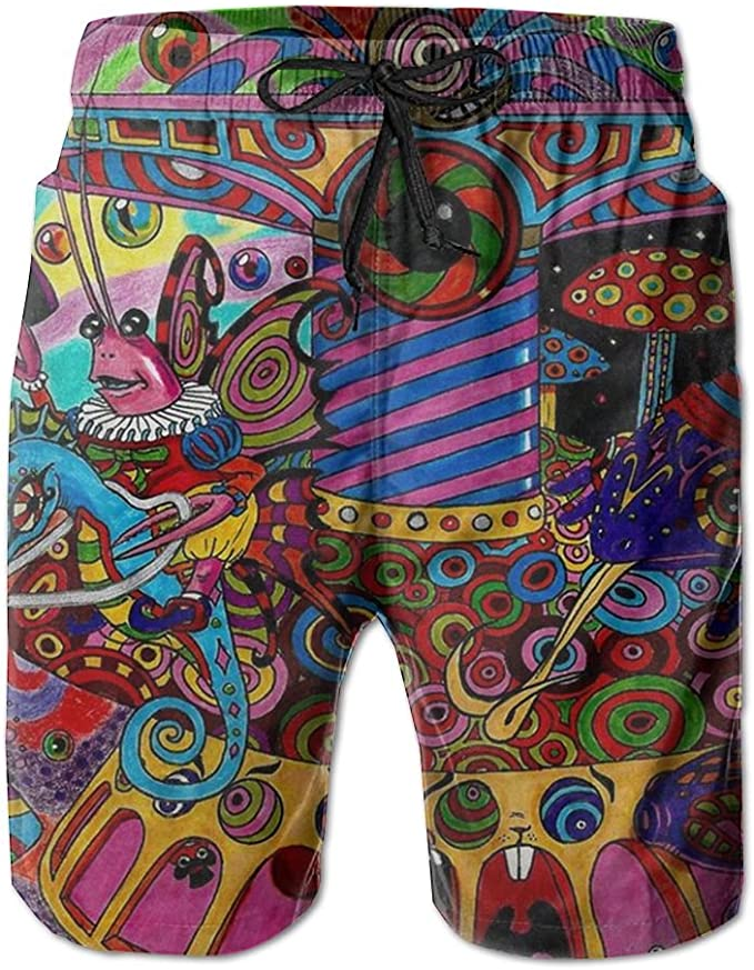 Trippy Color Art Mens Summer Casual Board Shorts Quick Dry Swimming Shorts with Pockets