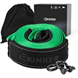 BUNKER INDUST Recovery Towing Strap Kit, 3' x 20ft Heavy Duty 30,000 lbs Vehicle Tow Rope with Storage Bag and 2pcs D…