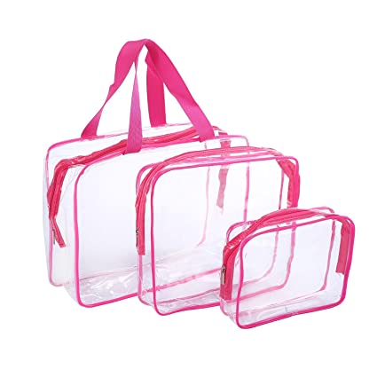 Bolsa de aseo transparente con asa, bolsa de aseo para mujer ...