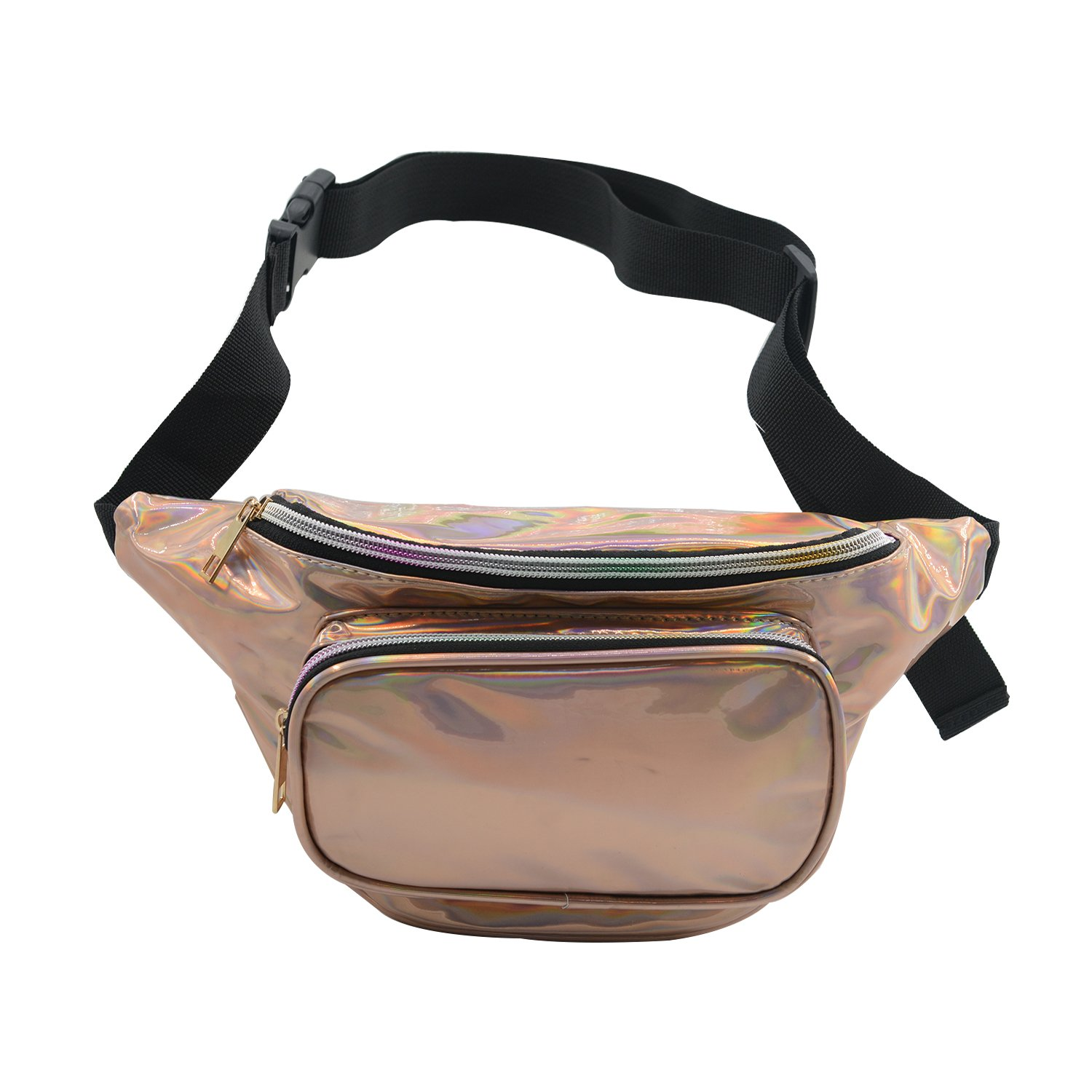 Women Fanny Pack PU Waist Pack Waterproof Hip Bum Bag Holographic Leather Belt Pouch for Party, Festival, Rave, Hiking, Travel Champagne