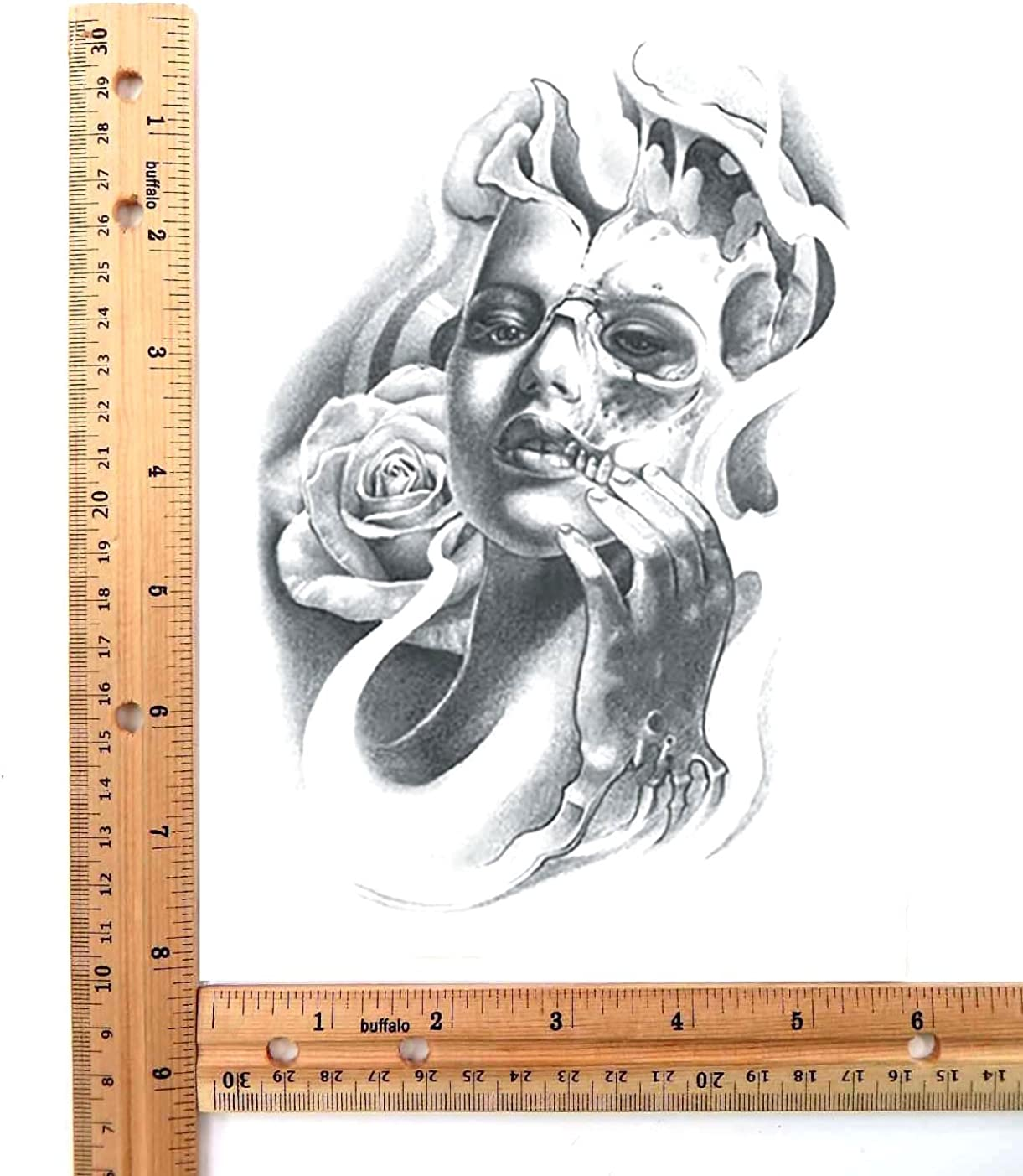 Halloween sugar skull large 8.25 half-sleeve arm tattoo Skin art waterproof