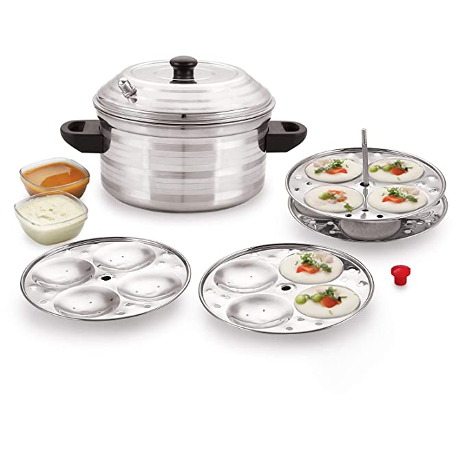 BMS Lifestyle 4 Plates Stainless Steel Idly Maker/Cooker  4 Plates, 16 Idlis  Steamers   Idli Makers