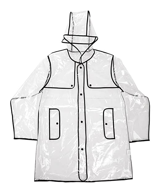 Chubasquero impermeable con capucha y diseño moderno, destacando la forma.