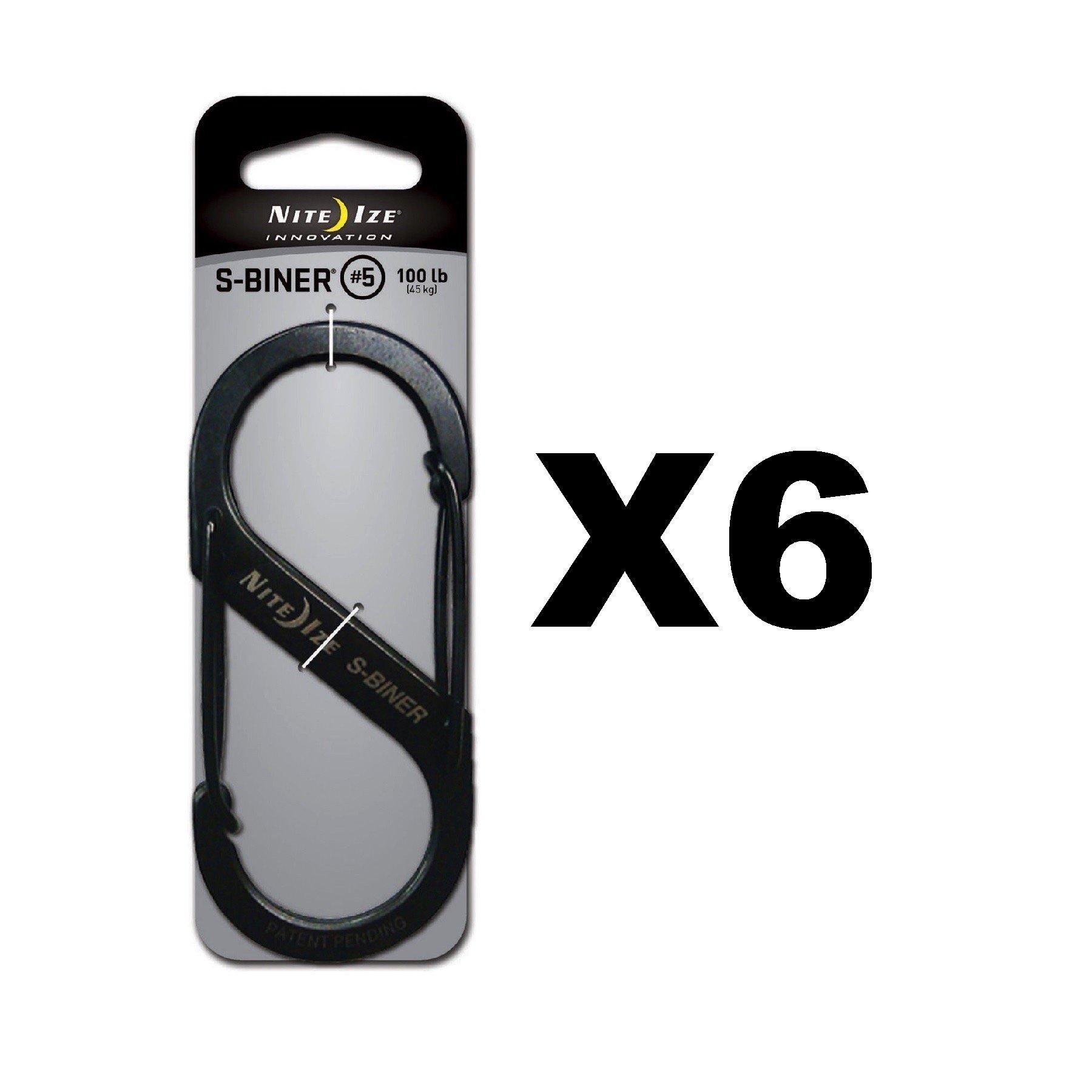 Niteize S-Biner Clips Size #5 Black 6 Pack