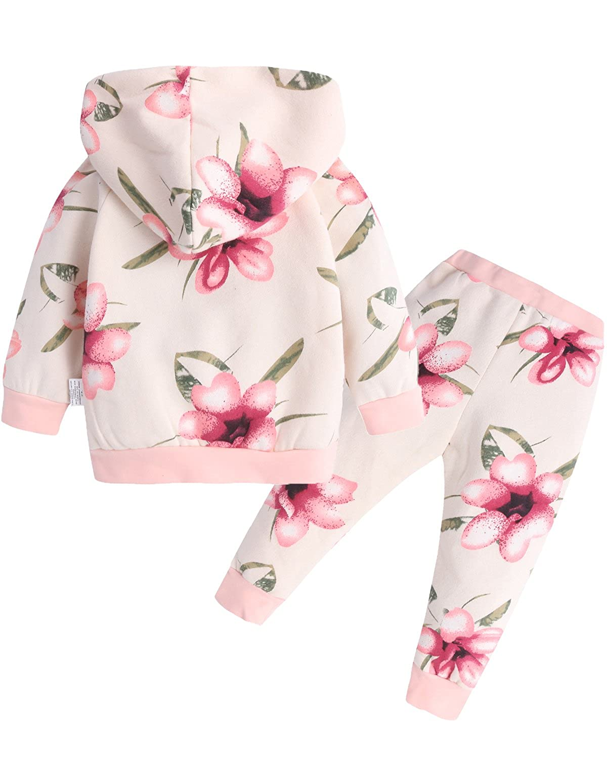 DaceStar 2pcs Infant Toddler Baby Girl Tracksuit Sweatshirt Kangaroo Pocket Floral Hoodie Tops and Pants Outfit Clothes Set