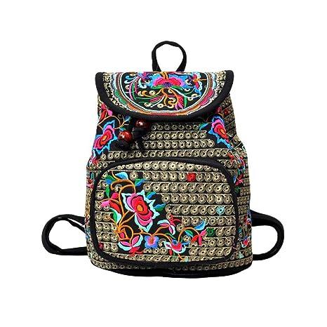 Tinksky Vintage mujeres bordado étnico mochila bolso de viaje bolso de hombro mochila navidad regalo de