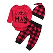 Newborn Baby Boy Girl Clothes Little Man Long Sleeve Romper,Plaid Pants + Cute Hats 3pcs Outfit Set (0-6 Months, Red-Little Man)