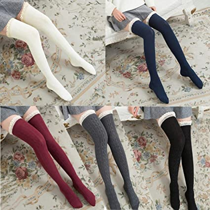 248c87ce46e47 Amazon.com: Appoi Women Over The Knee Long Socks Lace Warmer Thigh ...