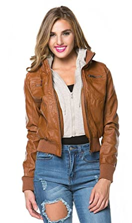35bfa0d2d50 Amazon.com  Plus Size Sweater Insert Leather Bomber Jacket in Tan ...