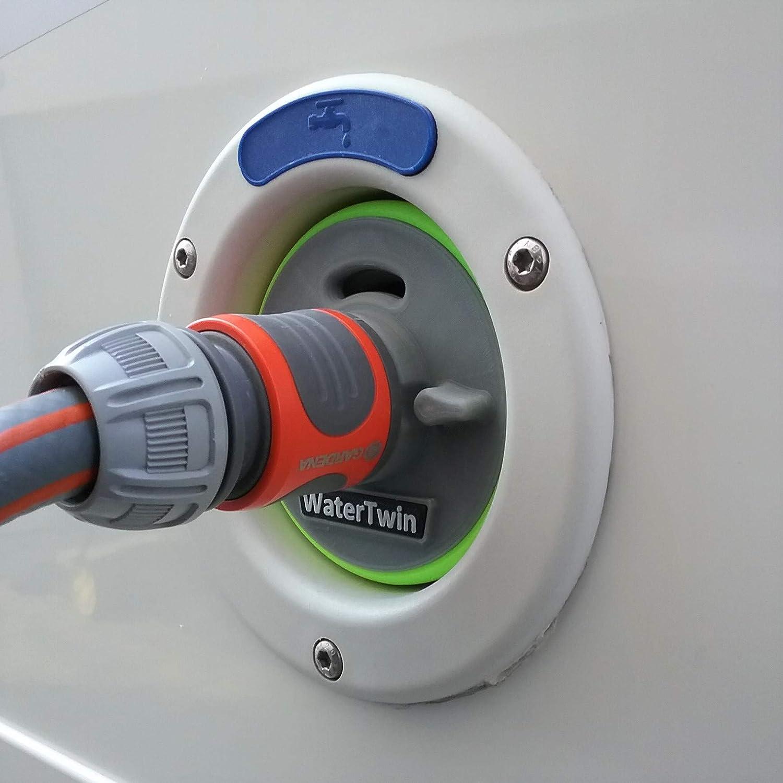 Wohnmobil Wasser Tank Tankdeckel mit Schlauch Anschluss Wei/ß passend f/ür CONTINENTAL Schraube Typ