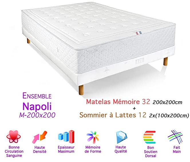 sommier 200x200 ensemble matelas sommier x merinos lit chillywave xsommier xpieds vernis with. Black Bedroom Furniture Sets. Home Design Ideas
