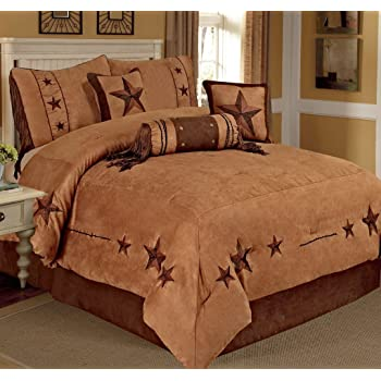 7 pieces luxury western lodge oversize comforter set camel brown lone star micro suede queen size bed in a bag bedding nw - Western Bedding