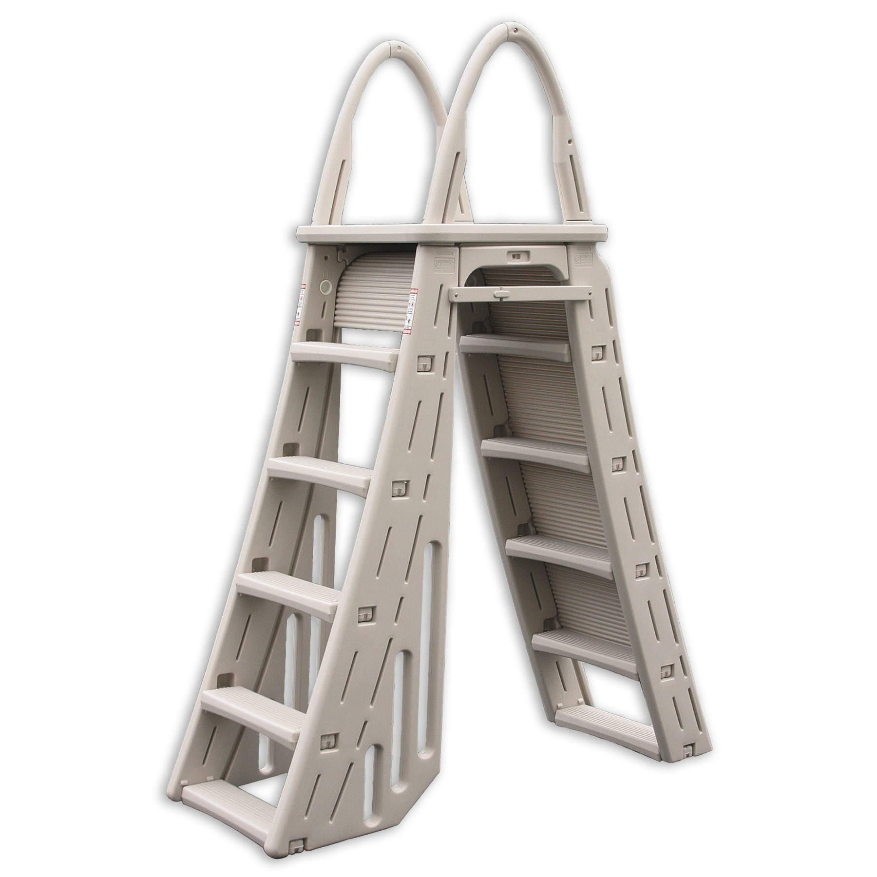 Confer Heavy-Duty A-Frame Above-Ground Pool Ladder + Hydro Tools Protective Mat by Confer