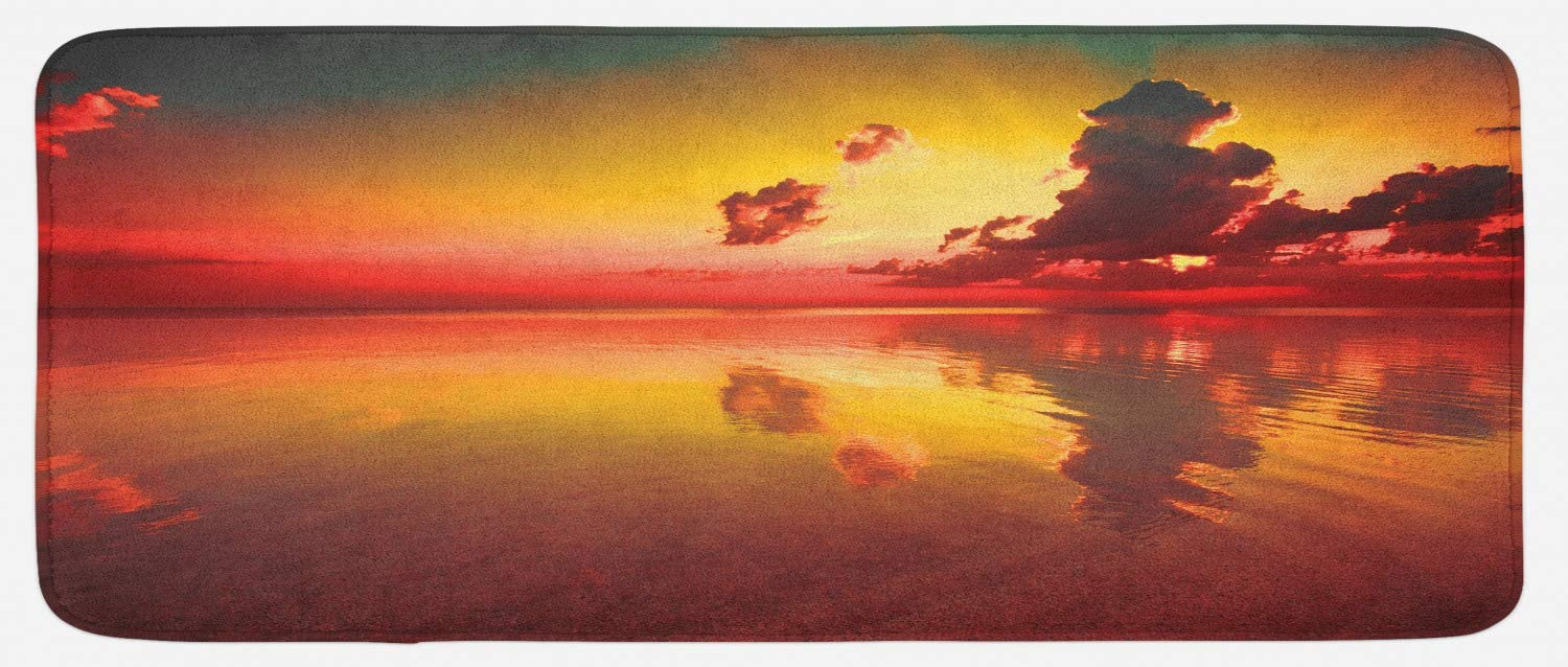 Amazon Com Ambesonne Americana Kitchen Mat Sunrise Over Sea Water Reflection Cloudy Horizon View Plush Decorative Kitchen Mat With Non Slip Backing 47 X 19 Forest Green Dark Coral Kitchen Dining