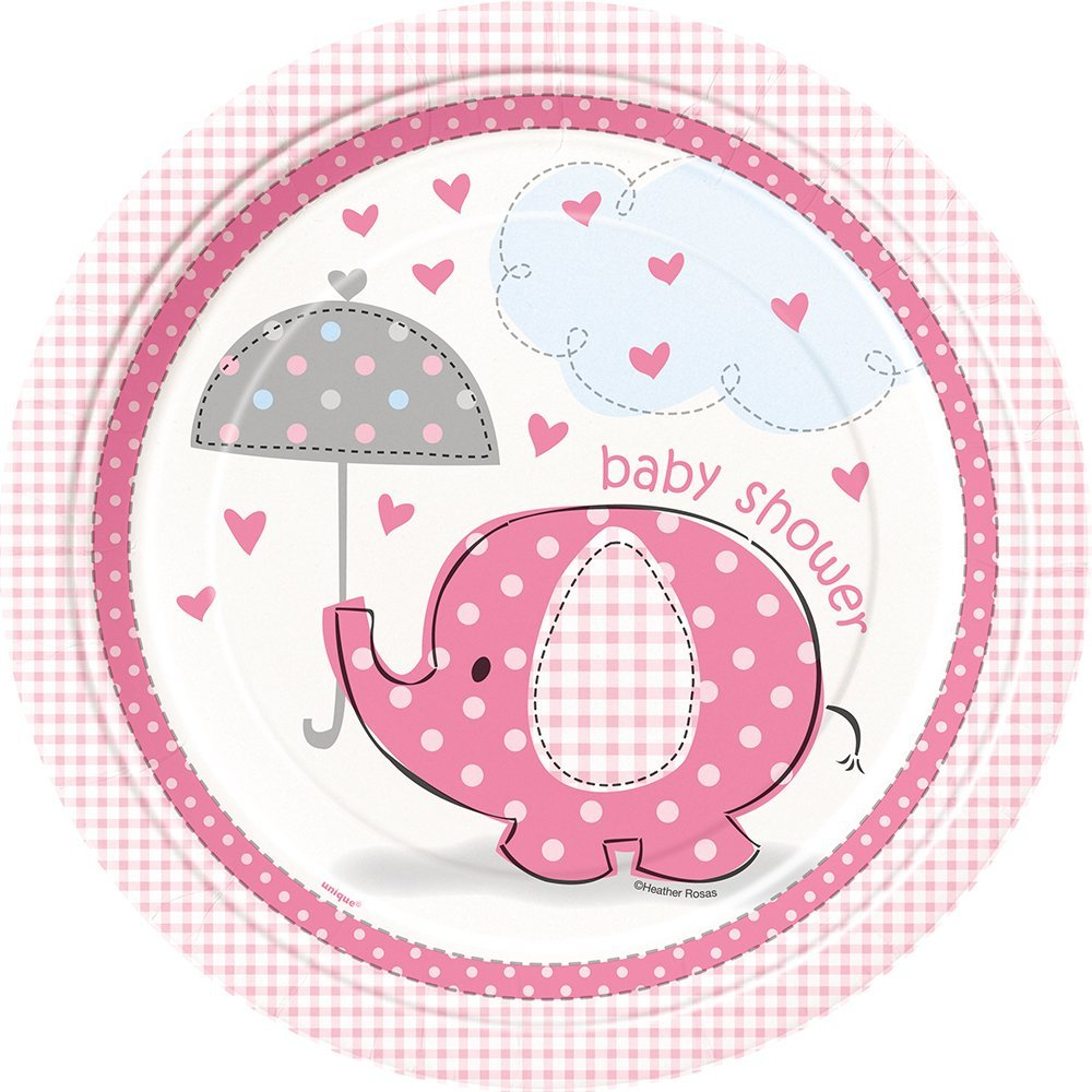 Amazon Pink Elephant Girl Baby Shower Plates 8ct Kitchen Dining
