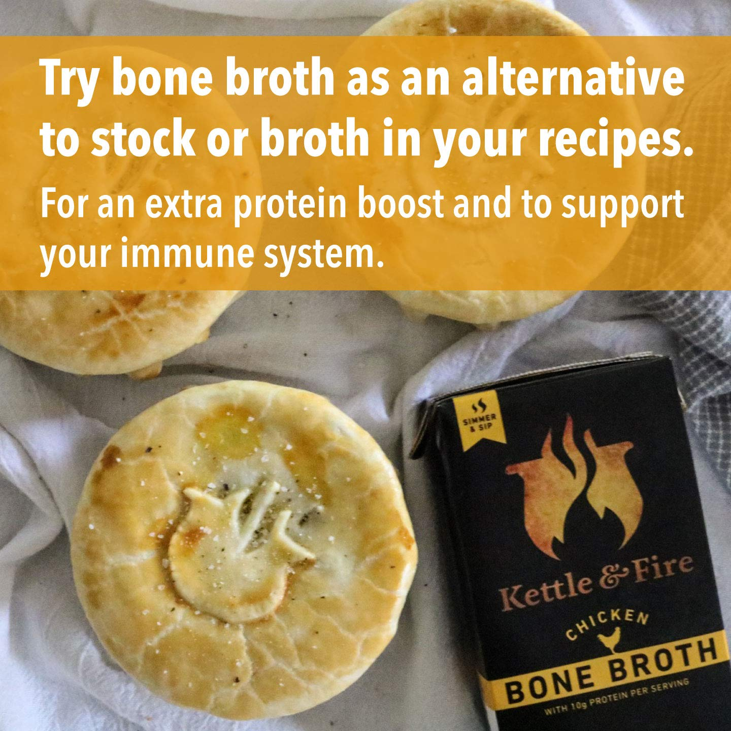 Chicken Bone Broth Soup by Kettle and Fire, Pack of 4, Keto Diet, Paleo Friendly, Whole 30 Approved, Gluten Free, with Collagen, 10g of protein, 16.2 fl oz by Kettle & Fire (Image #2)