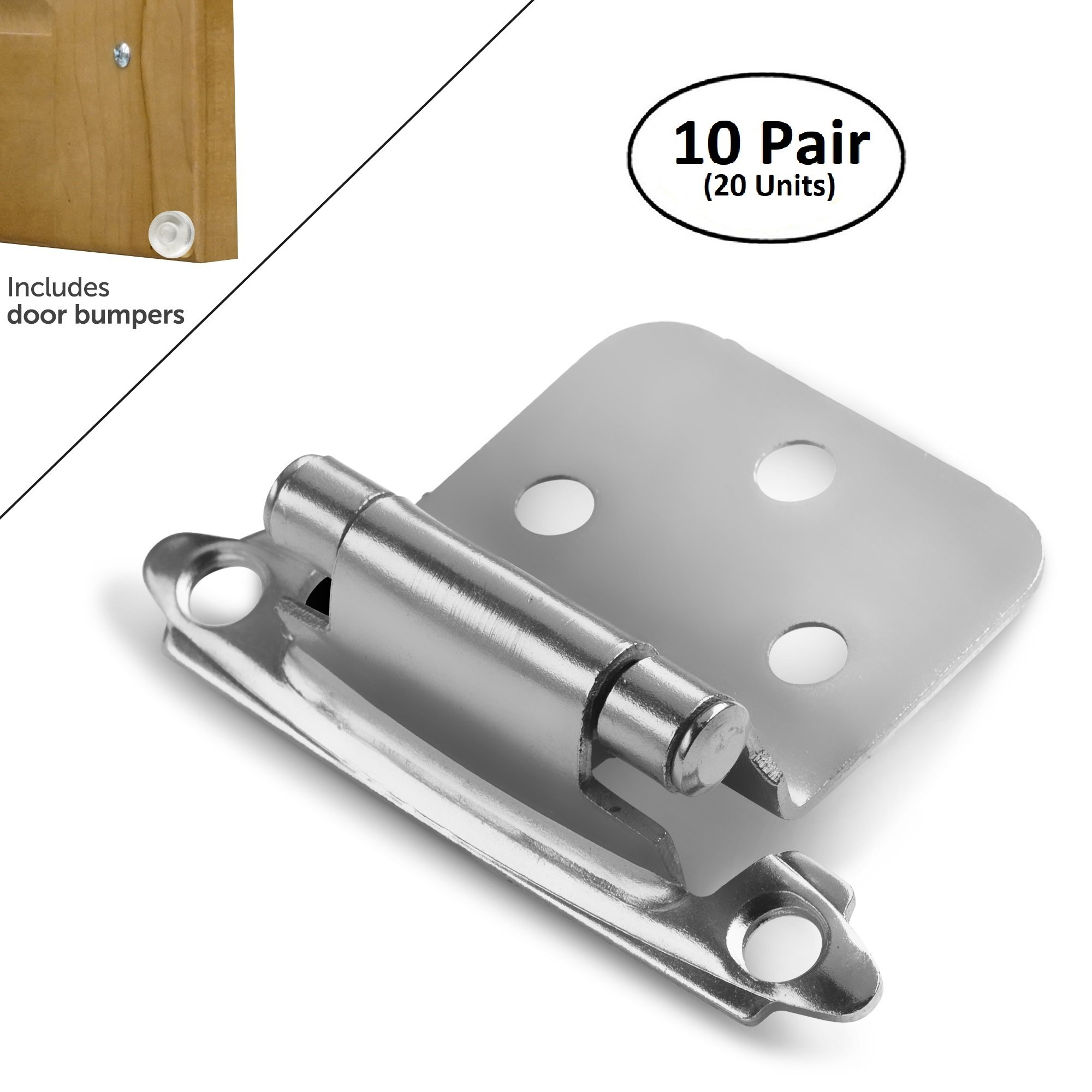 Berlin Modisch Overlay Cabinet Hinge 10 Pair (20 Units) Self-Closing Decorative, Face Mount, for Variable Overlay Kitchen Cabinet Doors Satin Nickel Finish, with Sound Dampening Door Bumpers by Berlin Modisch (Image #1)