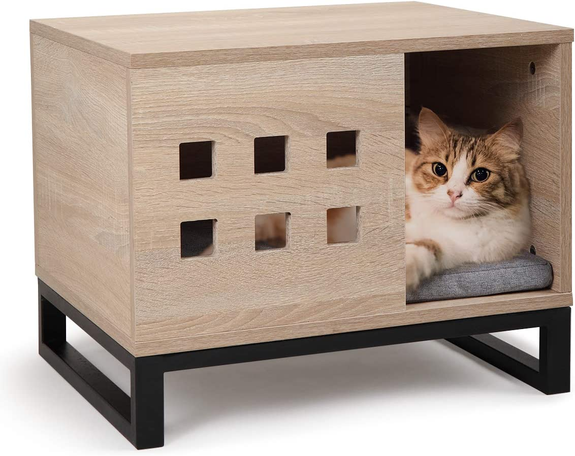 COZIWOW Indoor Rectangular Wood Pet Cat House – Furniture Wooden for Small to Medium Dog Cat, Open Entrance and 6 Vents, Soft Cushion, Elevated Metal Foundation, Burlywood, Black