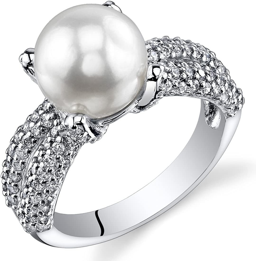Sterling Silver White /& Black Mother of Pearl w// High Quality CZ Stones Ring