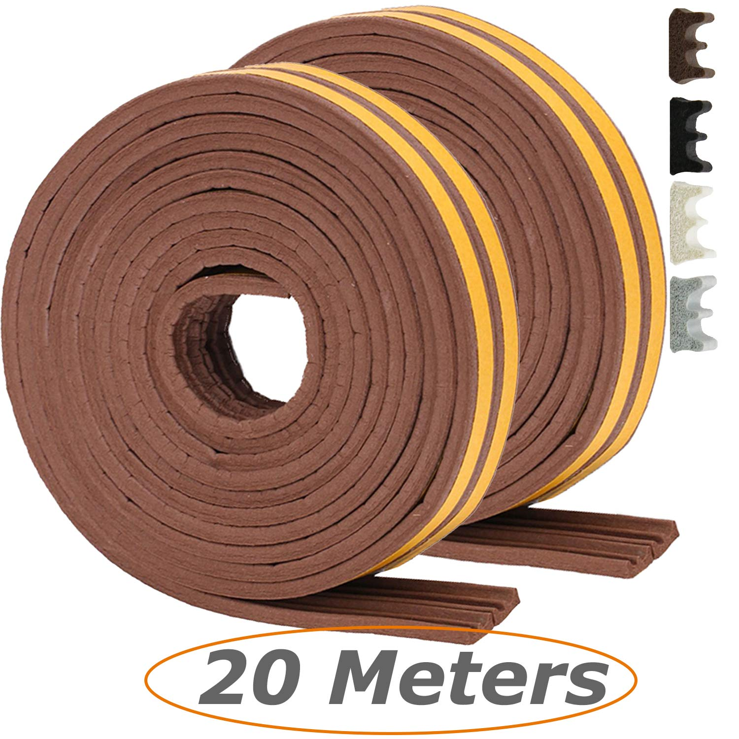 I Type Black Tavie 20 Meters Draught Excluders Seals Sound Noise Insulation Insulating Rubber Seal Weather Strip Foam Tape Door Window Muffle The Noise Draught Strip Durable