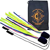 Pyro Pixies Ribbon Poi - Fabric Tail Practice Poi - Adult and Kid Poi Set with Cascade Juggling Bag