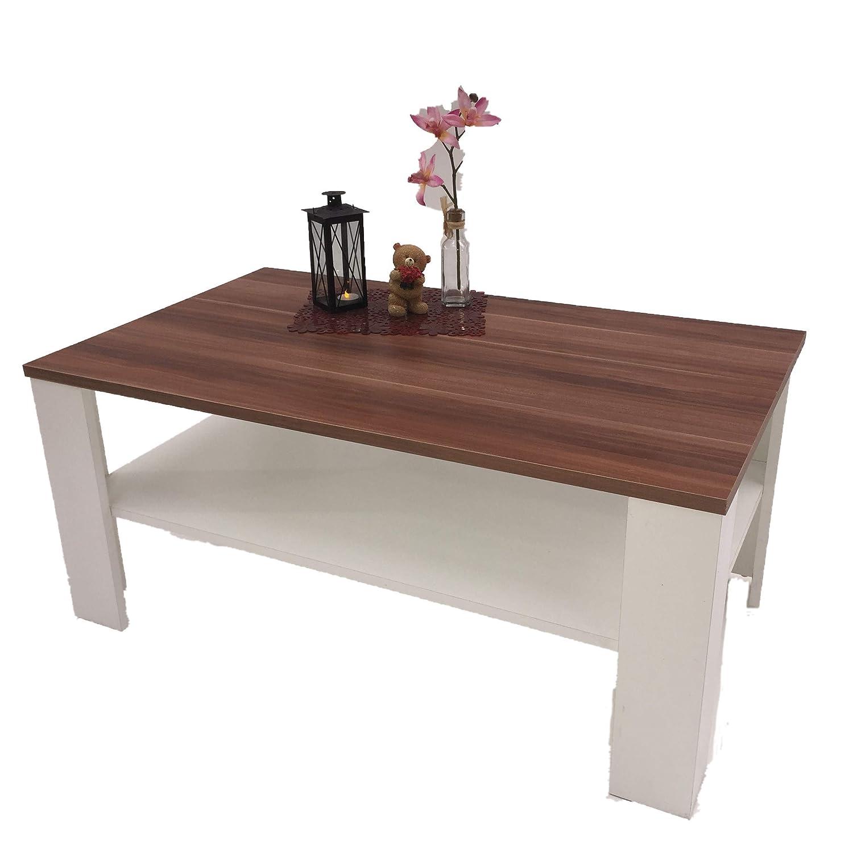 Möbel SD Couchtisch Wohnzimmertisch Kaffeetisch (Bea) (Bea) (Bea) Nussbaum weiß 52016a