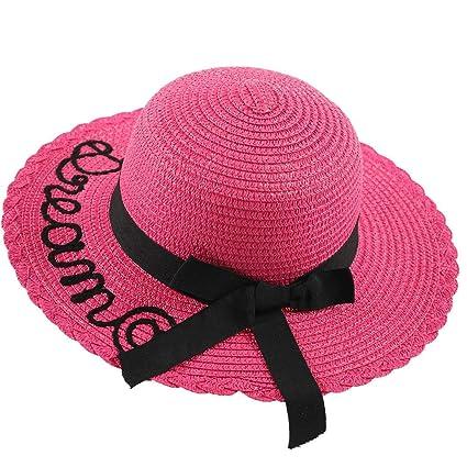 9d325e766ce7e0 Image Unavailable. Image not available for. Color: Shmei Children Beach Hat  Panama Style Hat Summer Straw Cap Wide Brim ...