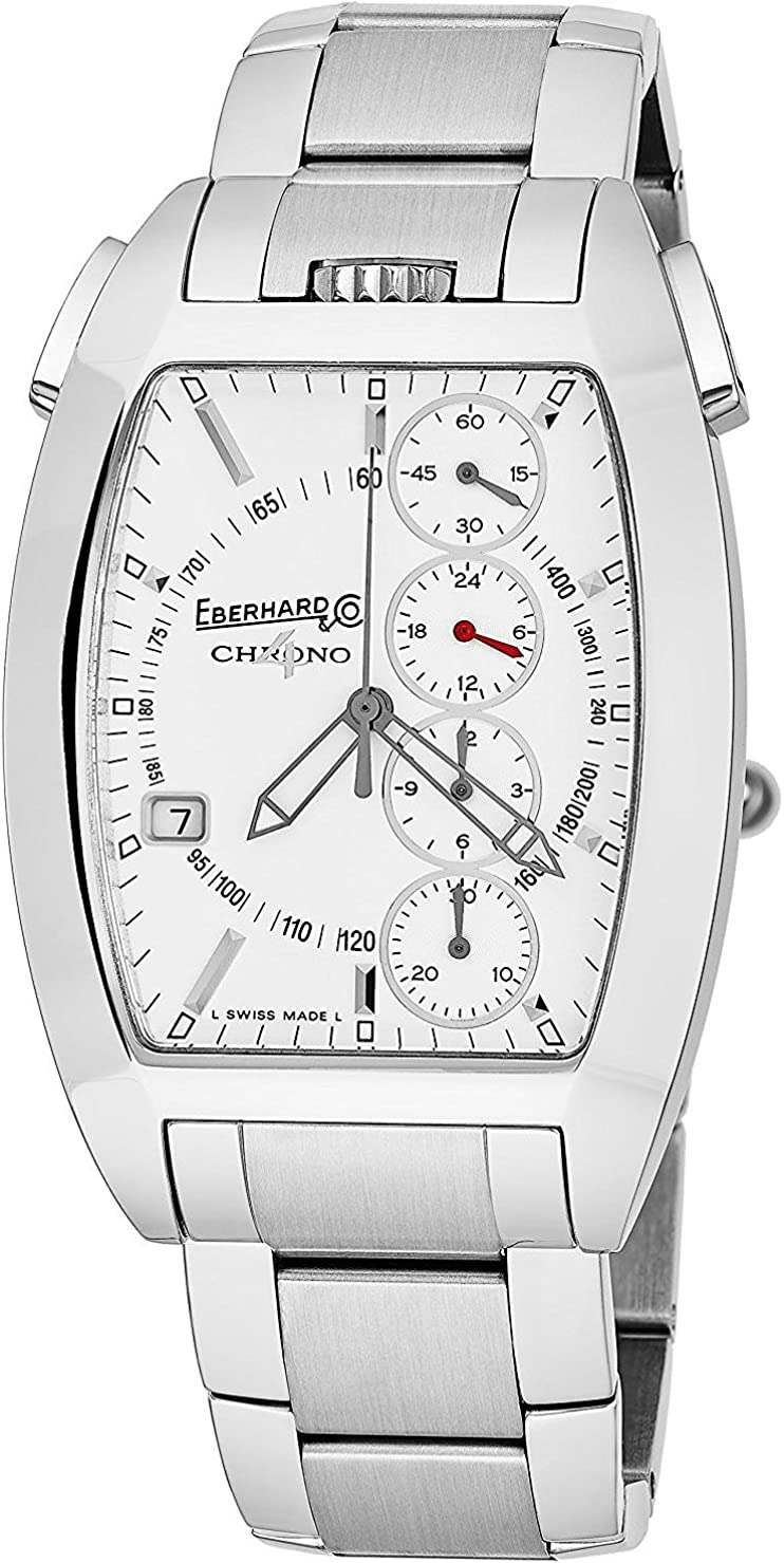 Eberhard & Co Chrono 4 Temerario Mens Stainless Steel Automatic Chronograph Watch - Tonneau White Face Casual Swiss Watch For Men 31047.1 71PmPtZ5wwLUL1479_