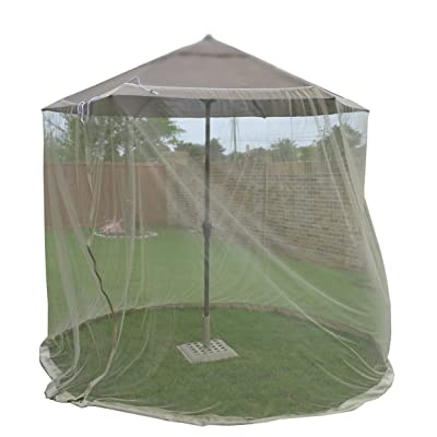 PierSurplus 7 ft (84 in) Tall Mosquito Net Canopy ONLY with Zipper for 7 ft -9 ft Umbrella Product SKU: GA01116 : Garden & Outdoor