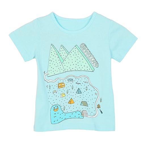 f49399acd Girls Cotton T-Shirts Summer Short Sleeve Graphic Print Tops Tees Green 18M