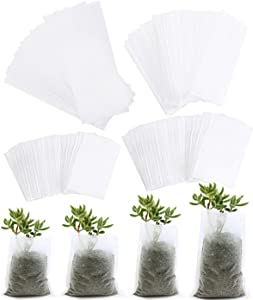 SBYURE 400 Pcs Biodegradable Non-Woven Nursery Bags Plant Grow Bags Fabric Seedling Pots,Nursing Growing Pouch ,Home Garden Supply,4 Size