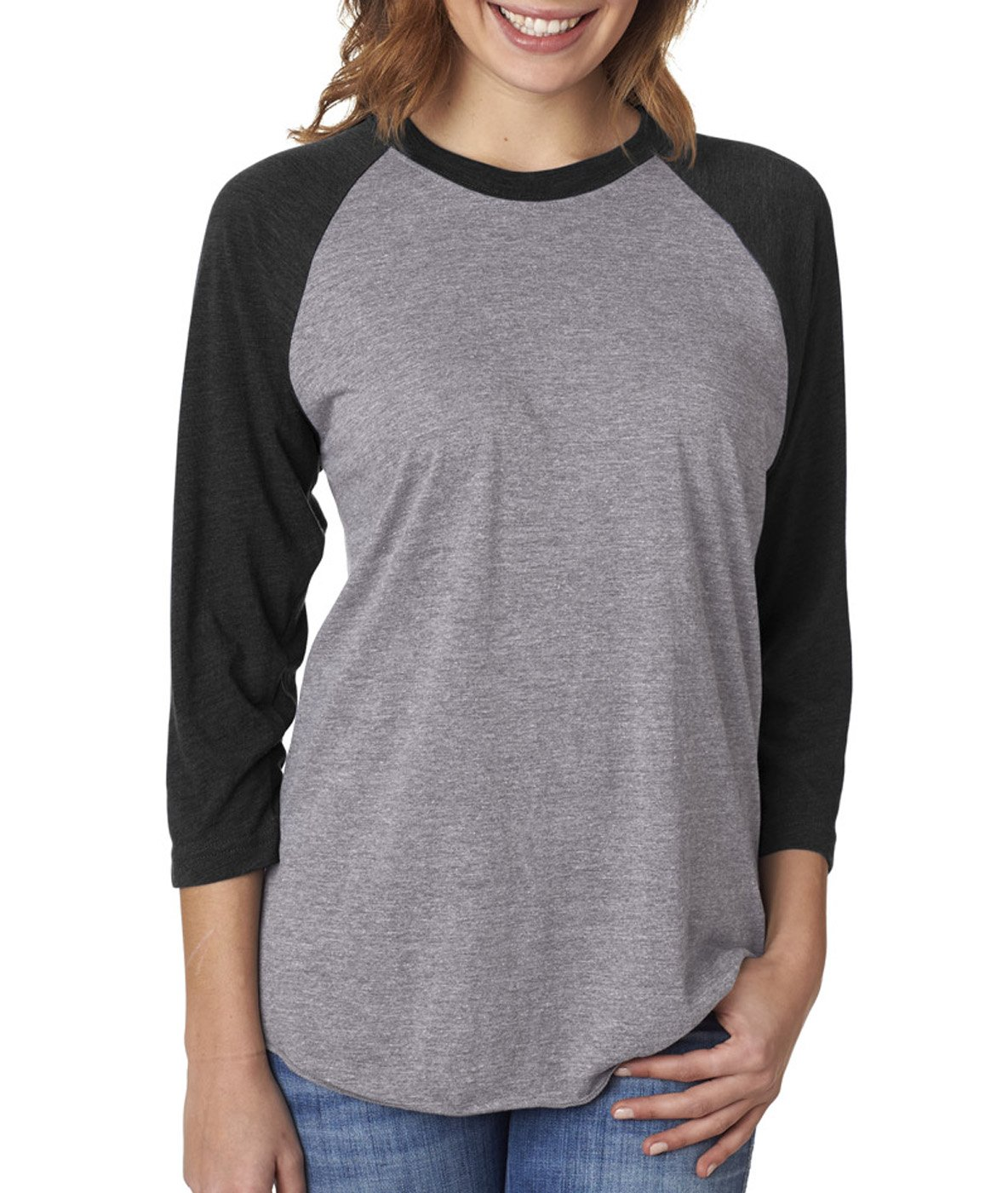 Next Level 6051 - Vintage Black Sleeves/Premium Heather Body-Small