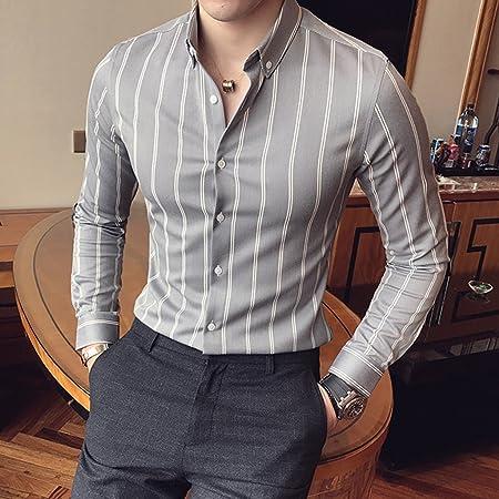 Camisas para Hombres Rayas Verticales Manga Larga Slim Moda Guapo Casual al Aire Libre Primavera y otoño sección Delgada Camisas: Amazon.es: Hogar
