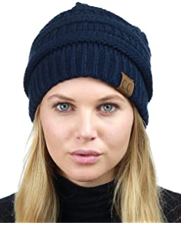 C.C Unisex Chunky Soft Stretch Cable Knit Warm Fuzzy Lined Skully Beanie 3a34daa4017