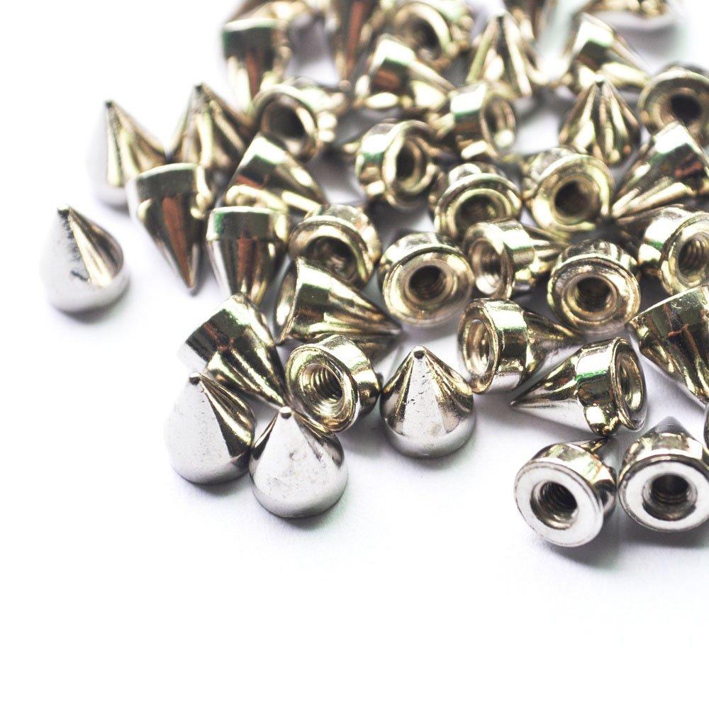 Caxmtu 100pcs 9.5mm Pointes de cône Argent TOOGOO Clous DIY Craft Cool Punk rivets