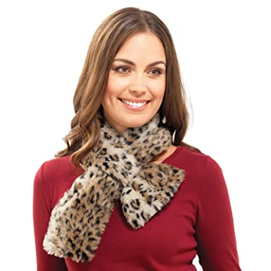 Ladies Faux Fur Collar Scarf Brown Leopard Warm Winter Wrap Round Neck  Accessory  Amazon.co.uk  Clothing 24956ffde