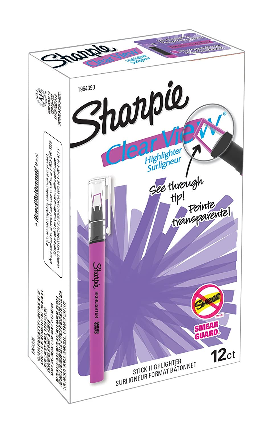 Sharpie Clear View Highlighter Stick, Assorted, 4/Pack (1950749) Newell Rubbermaid Office