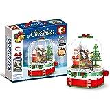 249pcs Christmas Decoration Blocks Set with Santa Clause Christmas Rotating Snow House Assembly Building Blocks