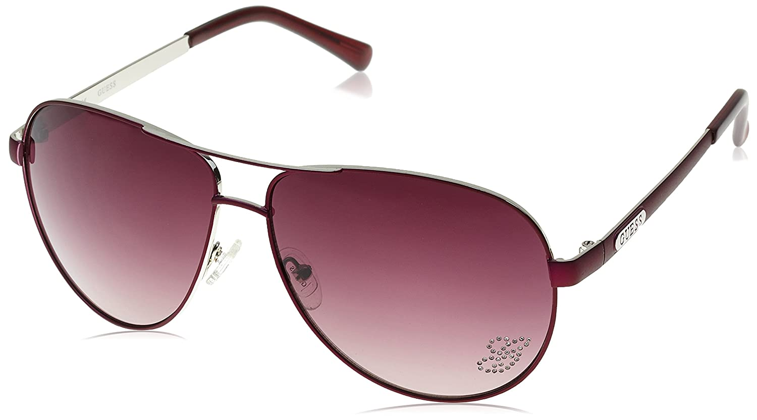 b6ae78fa7e9e4 Amazon.com  GUESS Women s Metal Oversize Aviator Sunglasses PUR-58 63 mm   Clothing