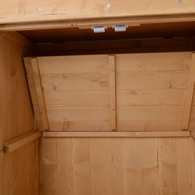 Outsunny Cobertizo de Madera Armario Herramientas de Jardinería Caseta Exterior 2 Puertas Techo Impermeable Madera Maciza 74x43x88cm: Amazon.es: Jardín