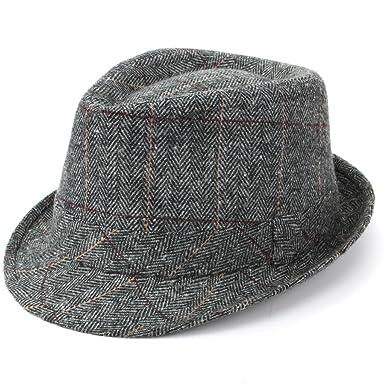 d6fff396068 Hawkins Grey Tweed Trilby Fedora Hat  Amazon.co.uk  Clothing